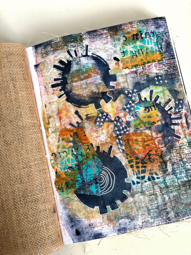 Art Journal Collage Seidenpapier mit Stempel