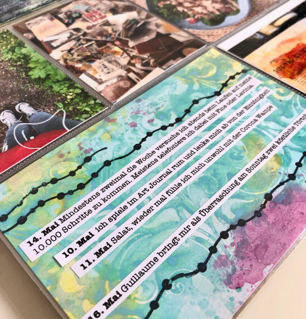 Mixed Media Project Life Karte mit Stempeln