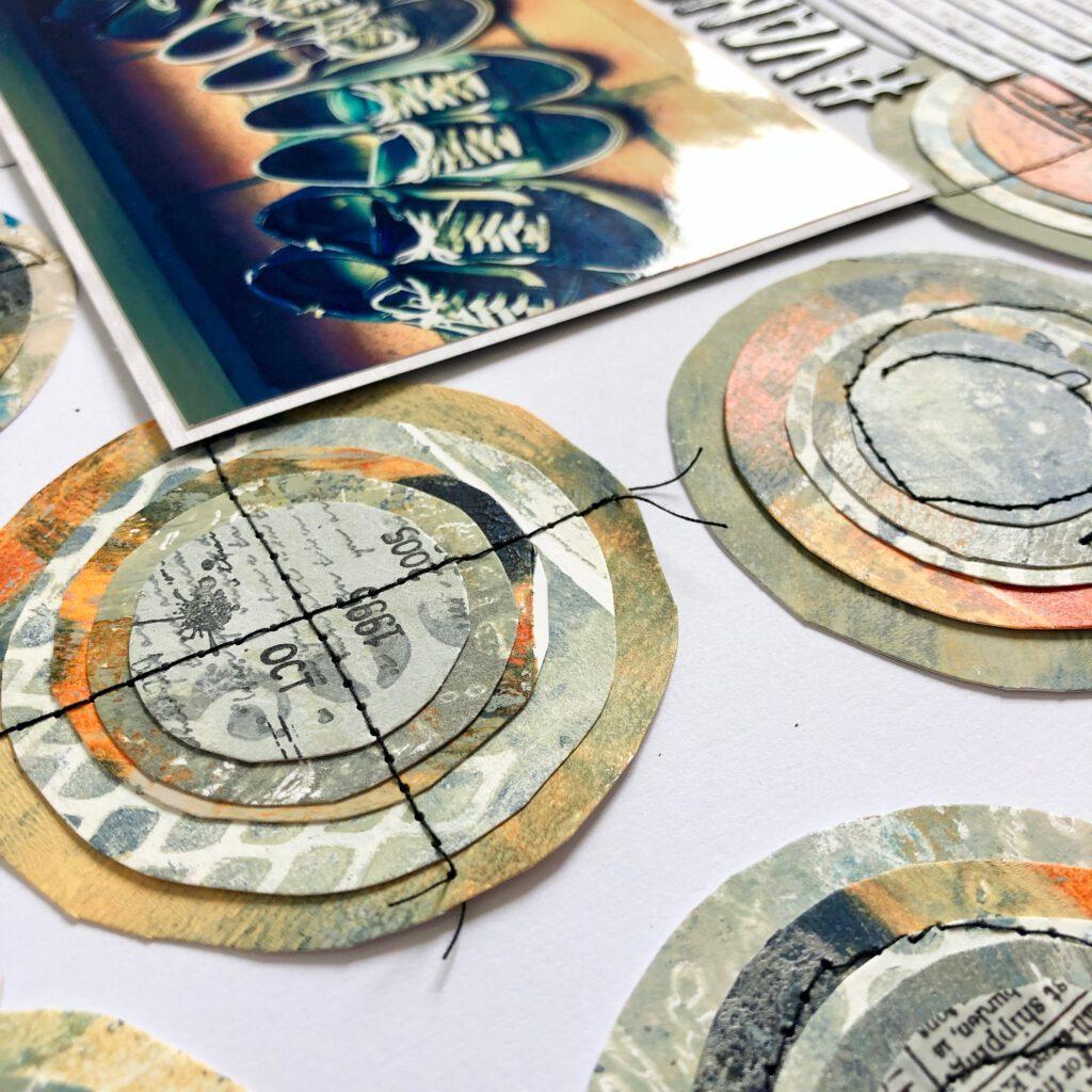 Mixed Media Scrapbooking Layout Kreise Details