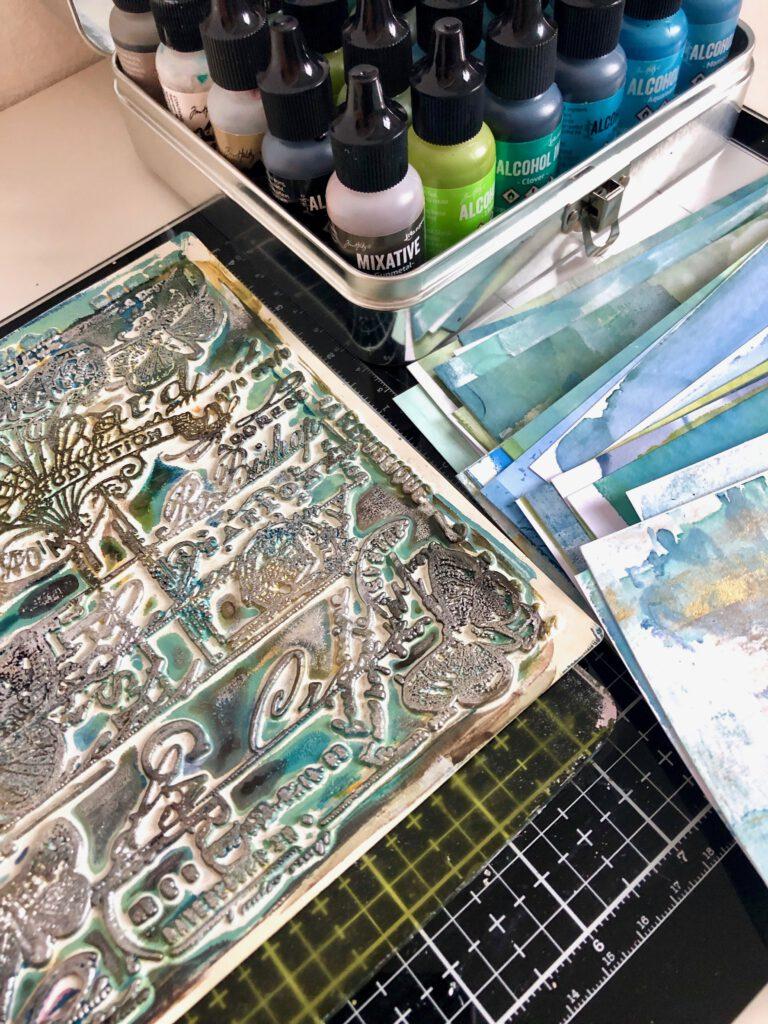 Alcohol Ink und Gelpress auf Papier drucken