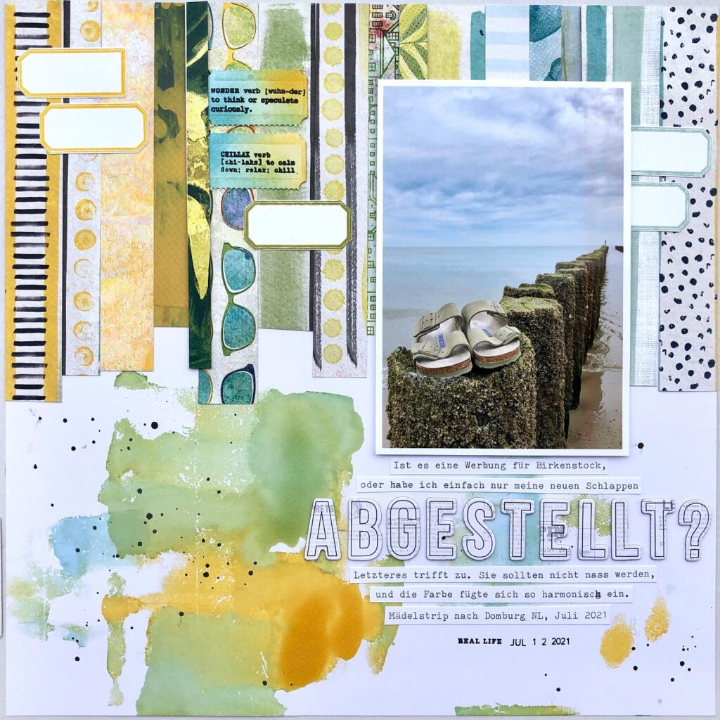 Mixed Media Scrapbooking Layout mit Alcohol Ink