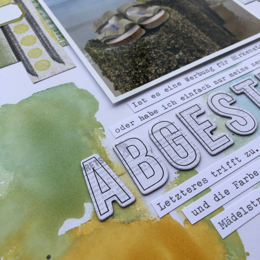 Mixed Media Scrapbooking Layout 2 mit Alcohol Ink Detail