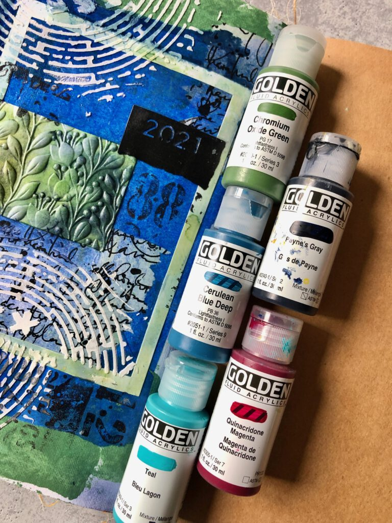 Art Journal Seite Golden Acrylics